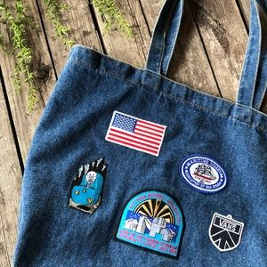 Handbags - Blue jean Denim iron on patch market bag tote